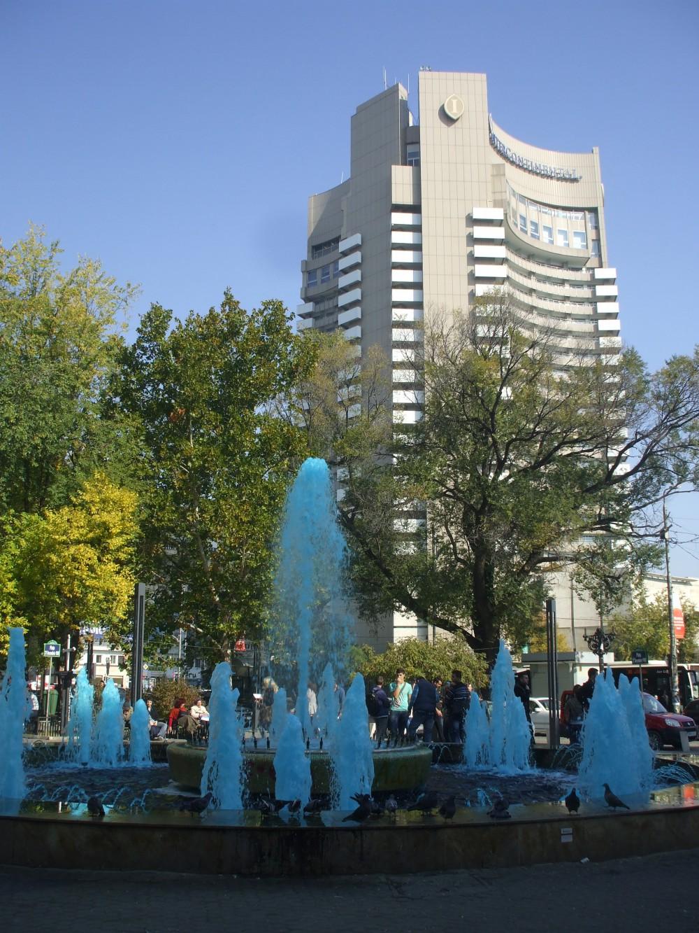Intercontinental Hotel & University Fountain in Bucharest